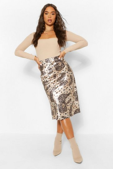 Tan brown Mixed Leopard Satin Slip Midi Skirt