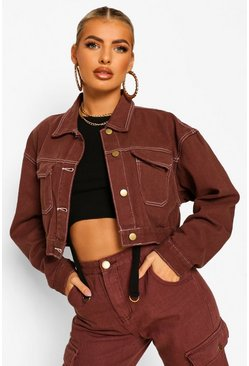 Chocolate Contrast Stitch Denim Jacket