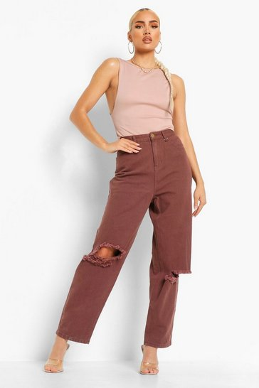 Chocolate brown High Rise Distressed Mom Jean