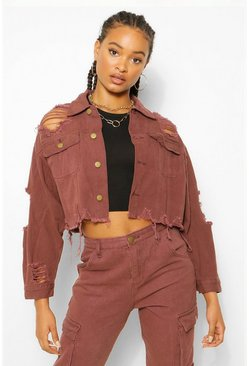 Chocolate brown Distressed Crop Denim Jacket