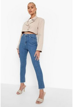 Mid blue High Waist Frayed Hem Skinny Jean