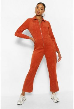 Rust orange Cord Zip Through Boiler Jumpsuit