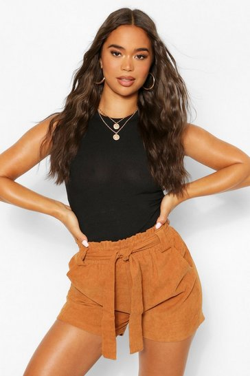 Tan brown Cord Paperbag Waist Belted Shorts