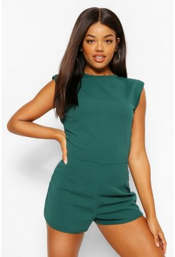 Bottle green green Statement Shoulder Pad Playsuit
