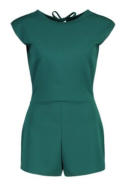 Bottle green Statement Shoulder Pad Playsuit
