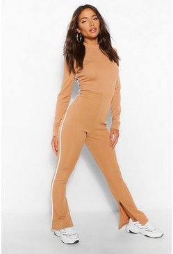 Camel beige Ribbed High Neck Sports Stripe Flared Jumpsuit