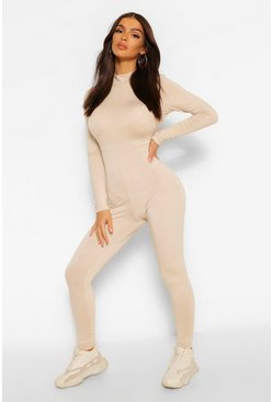 Stone beige Funnel Neck Long Sleeve Unitard Jumpsuit