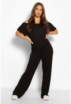 Black Slash Neck Oversized Wide Leg Jumpsuit