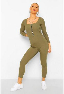 Zip Front Long Sleeved Square Neck Unitard, Dark_olive vert