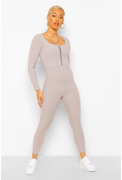Grey marl Zip Front Long Sleeved Square Neck Unitard