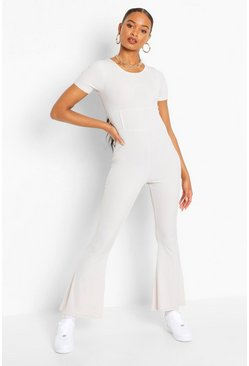 Ecru white Ribbed Corset Seam Detail Flared Leg Jumpsuit