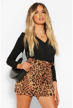 Tan brown Leopard Print Jersey Tailored Shorts