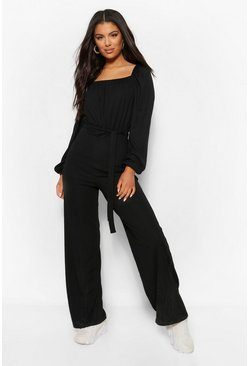 Black Ribbed Volume Sleeve Square Neck Wide Leg Jumpsuit