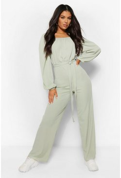 Sage green Ribbed Volume Sleeve Square Neck Wide Leg Jumpsuit