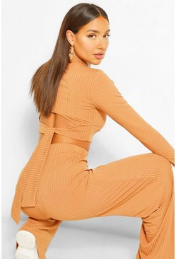 Camel beige Rib Tie Back Top and Wide Trouser Co-ord