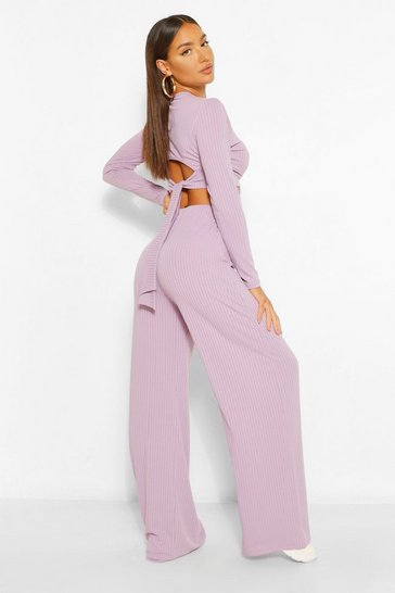 Mauve purple Rib Tie Back Top and Wide Trouser Co-ord