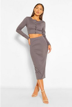 Charcoal grey Rib Crop Cardigan and Midi Skirt Co-ord