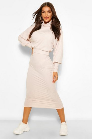 Oatmeal beige Rib Roll Neck Jumper and Midi Skirt Co-ord