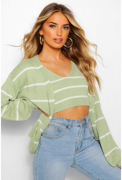 Olive green Knitted Stripe Cami and Cardigan Co-ord