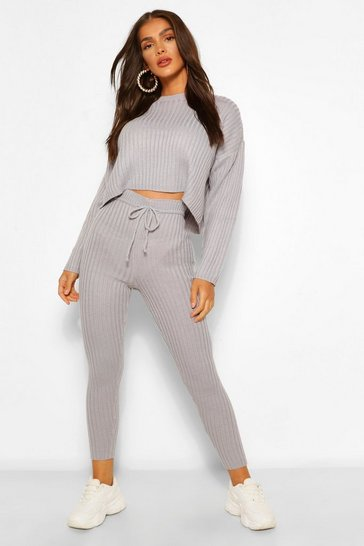 Silver grey grey Knitted Rib Blouson Jumper and Legging Co-ord