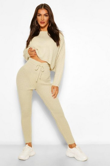 Stone beige Knitted Rib Blouson Jumper and Legging Co-ord