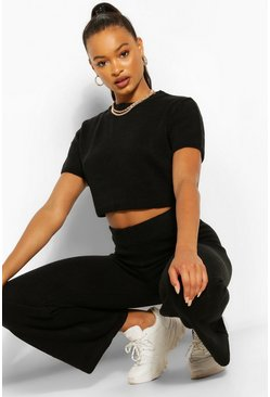 Black Knitted Top and Wide Leg Trouser Co-ord