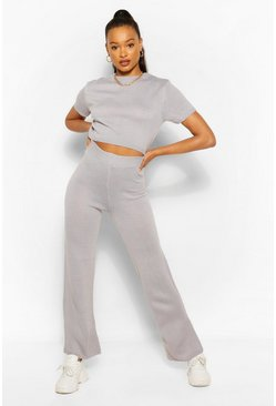 Silver grey grey Knitted Top and Wide Leg Trouser Co-ord