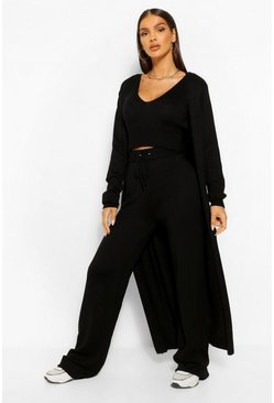 Black 3 Piece Knitted Top Cardigan And Legging Co-ord Set