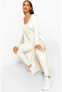 Ecru white 3 Piece Knitted Top Cardigan And Legging Co-ord Set