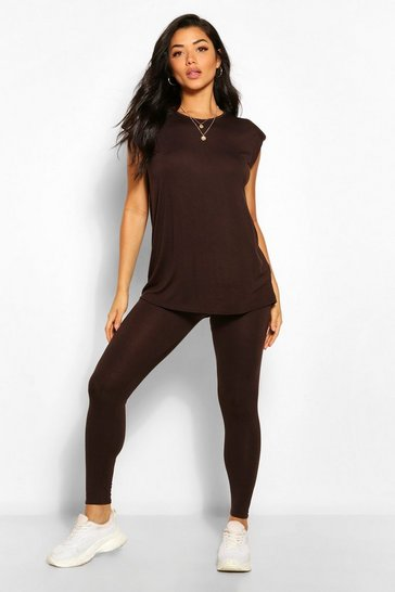 Chocolate brown Shoulder Pad T-Shirt and Legging Co-ord
