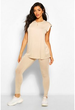 Stone beige Shoulder Pad T-Shirt and Legging Co-ord
