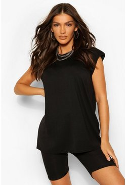 Black Shoulder Pad T-Shirt and Cycling Short Co-ord