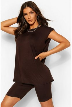 Chocolate brown Shoulder Pad T-Shirt and Cycling Short Co-ord