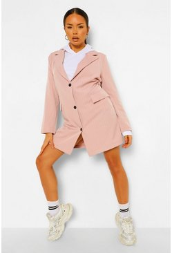 Blush pink Pinstripe Oversized Blazer Dress