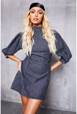 Grey Acid Wash Puff Sleeve Dress