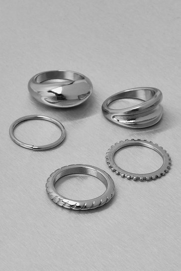 Silver Recycled Metal 5 Pack Stacking Rings