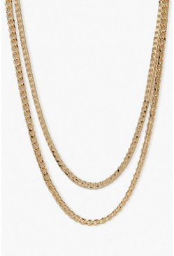 Gold metallic 2 Pack Curb Chain Necklaces