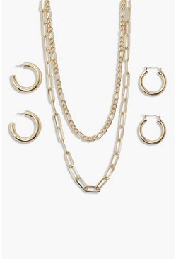 Gold metallic Core Chain And Hoop Multi Pack