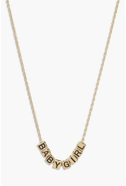 Gold Babygirl Cube Necklace