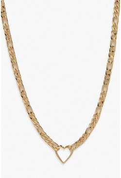 Gold metallic Curb Chain With Heart Link