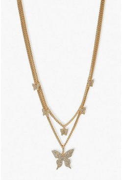 Gold metallic Glam Layered Diamante Butterfly Necklace