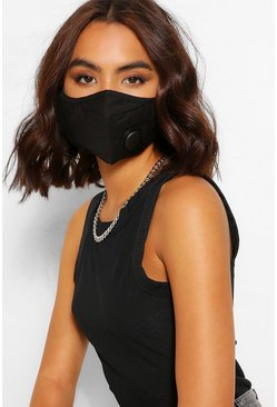 Black 3 Layer Face Covering With Ventilation Valve