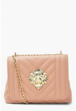 Blush Quilted Lionhead Cross Body Bag