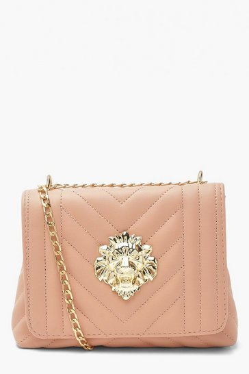 Blush pink Quilted Lionhead Cross Body Bag