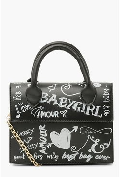 Black All Over Graffiti Slogan Cross Body Bag