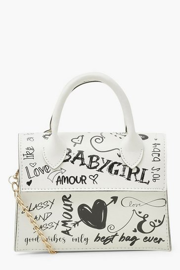 White All Over Graffiti Slogan Cross Body Bag