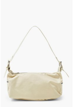 Cream white High Shine Nylon Buckle Strap Shoulder Bag