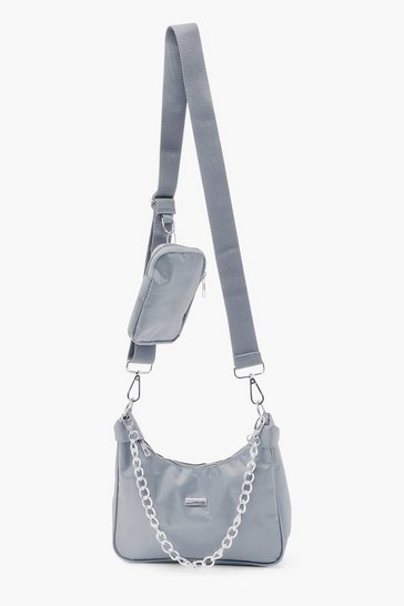 Grey Reflective Edge Nylon Multiway Cross Body Bag
