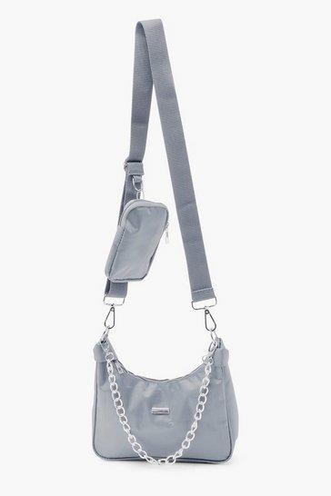 Grey Reflective Edge Nylon Multiway Cross Body Bag