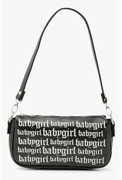 Black Baby Girl Slogan Graffiti Shoulder Bag